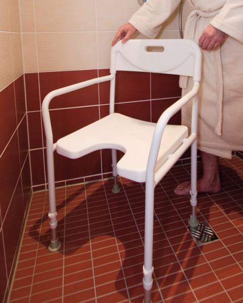 Russka Aluminium-Duschstuhl mit Armlehnen und Rückenlehne