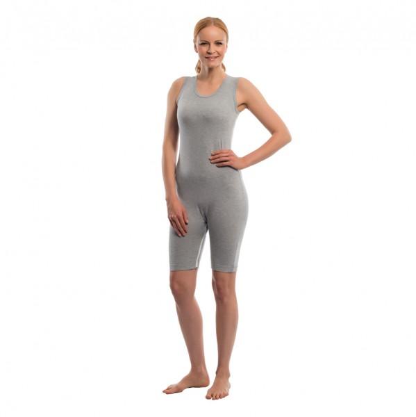 Suprima Pflegebody ohne Arm Bein-Reißverschluss grau