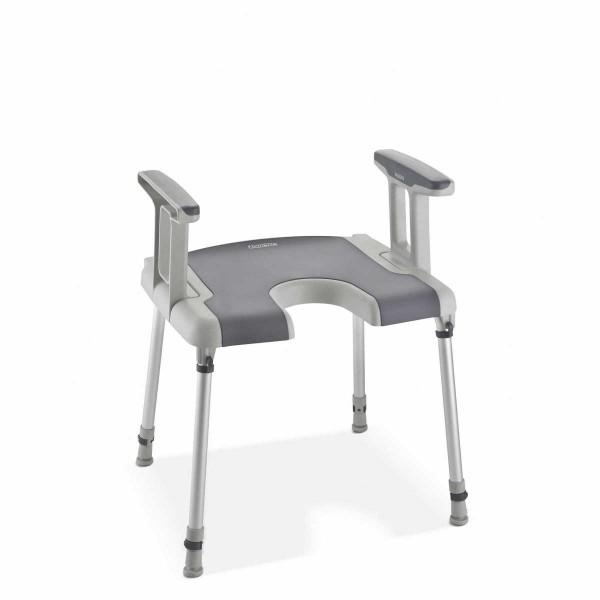 Aquatec® Sorrento Duschhocker mit Armlehnen und Hygieneausschnitt