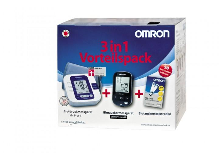 Omron 3 in 1 Blutzucker und Blutdruck Vorteilspack mit Teststreifen