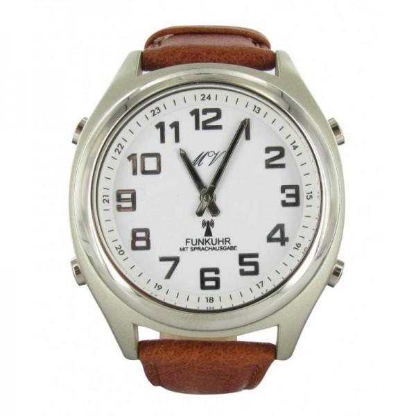 Sprechende Funk-Armbanduhr Lederarmband White