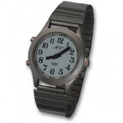 Sprechende Damen-Armbanduhr White Edition Silber-Metall