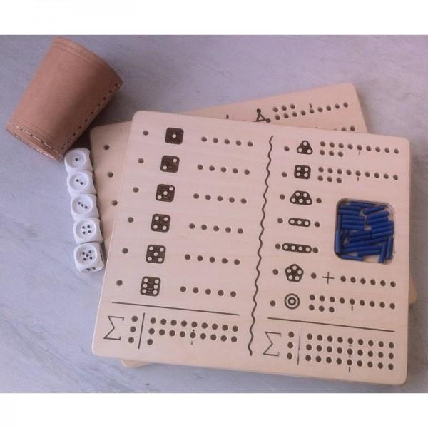 Kniffel-Set für Blinde mit 2 taktilen Spielbrettern