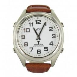 Sprechende Funk-Armbanduhr Lederarmband White Ziffernblatt, braunes Lederband