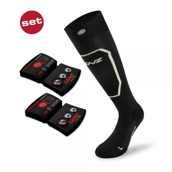 Lenz Set lithium pack rcB 1200 + heat socks 1.0 slim fit - beheizbare Socken